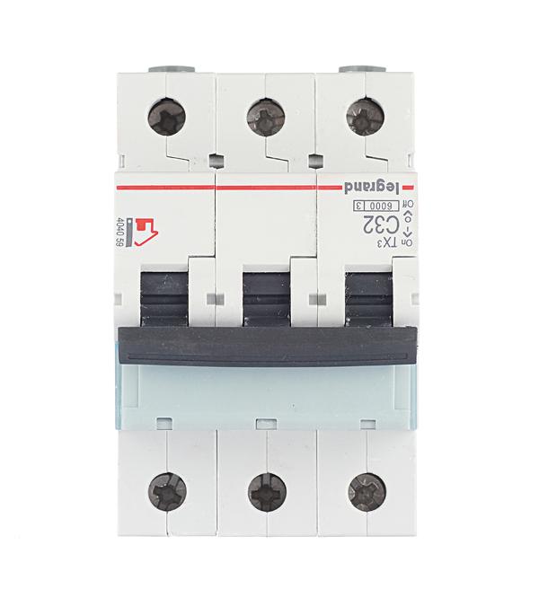 Автомат 3P 32А тип С 6 kA Legrand TX3 автомат 3p 20а тип с 6кa legrand tx3