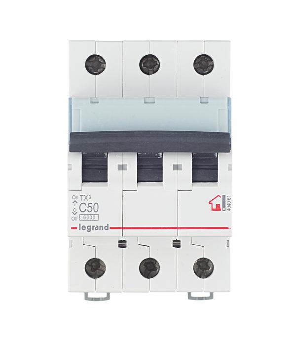 Автомат 3P 50А тип С 6 kA Legrand TX3 автомат 3p 20а тип с 6кa legrand tx3