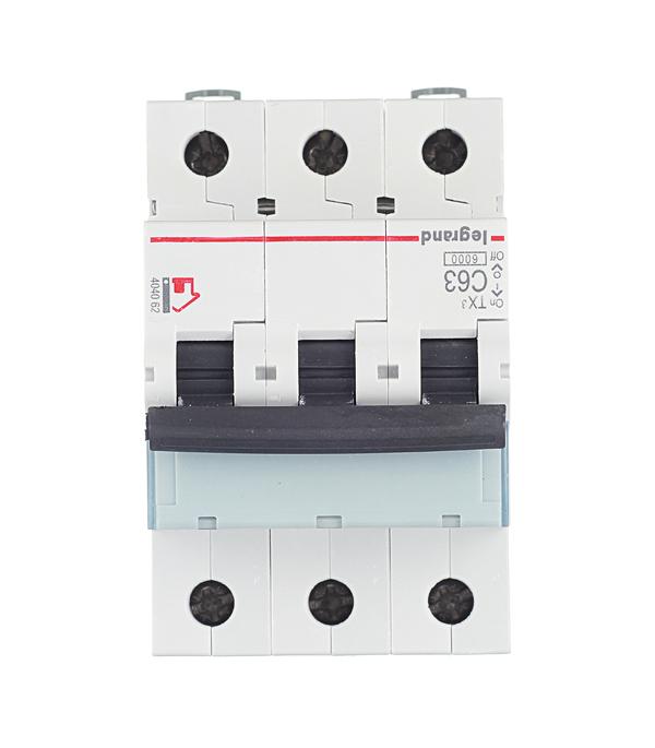 Автомат 3P 63А тип С 6 kA Legrand TX3 автомат 3p 20а тип с 6кa legrand tx3