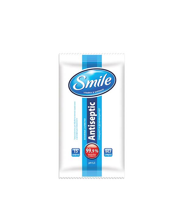 Влажные салфетки Smile Антисептик (15 шт) smile салфетки влажные special 15 шт антибактериальные с подорожником