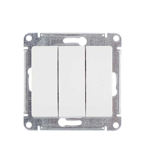 Механизм выключателя трехклавишного с/у Schneider Electric Glossa белый выключатель двухклавишный наружный бежевый 10а quteo