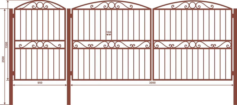Ворота и калитка ВС-2 (грунт) 4180х1500 мм