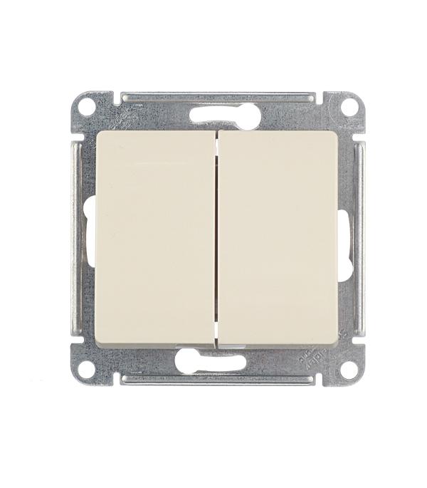 Механизм выключателя двухклавишного Schneider Electric Glossa с/у бежевый механизм выключателя schneider electric glossa белый 1 клавишный gsl000111