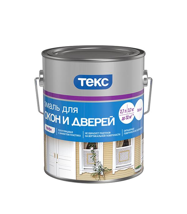 Эмаль алкидная Текс Профи для окон и дверей белая полуглянцевая 3.7 кг