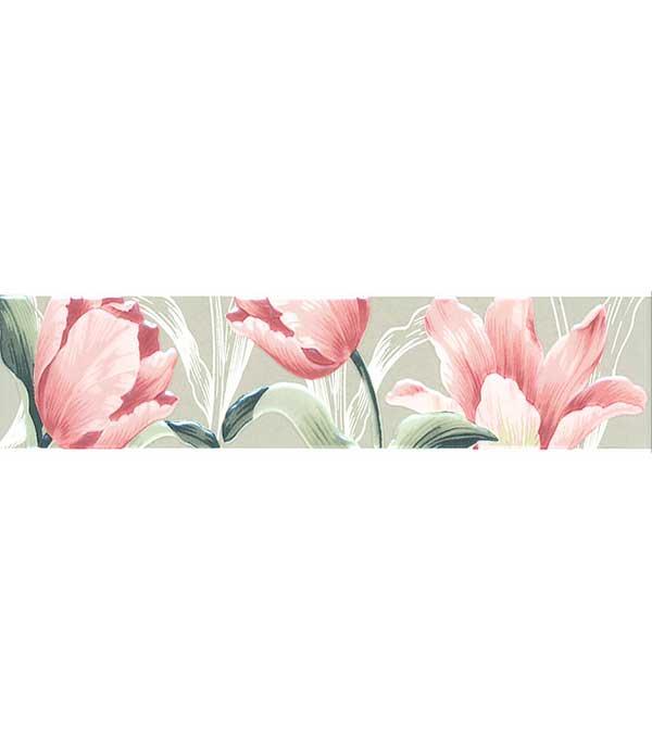 Плитка бордюр 300х72х9 мм  Норфолк Цветы зеленый