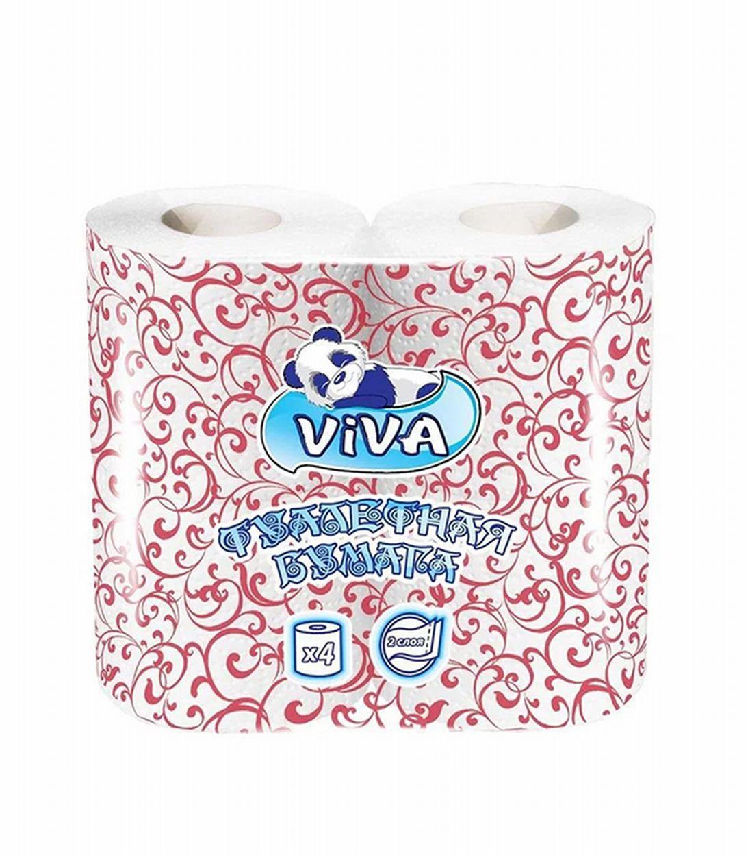 Бумага туалетная двухслойная, упаковка 4 рулона