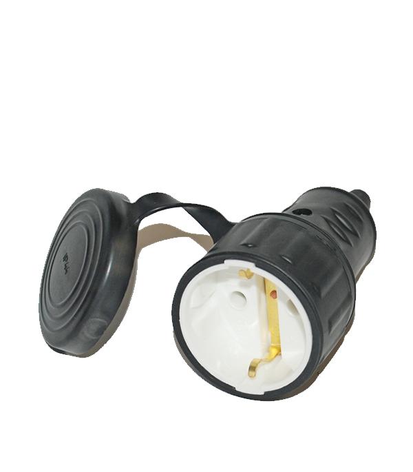 Розетка каучуковая  одноместная с заземляющим контактом  брызгозащищенная настенная однофазная каучуковая розетка с заглушкой universal 602229