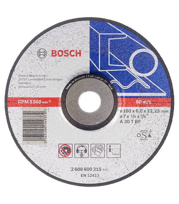 Круг зачистной по металлу 180х22х6 мм вогнутый Bosch Профи