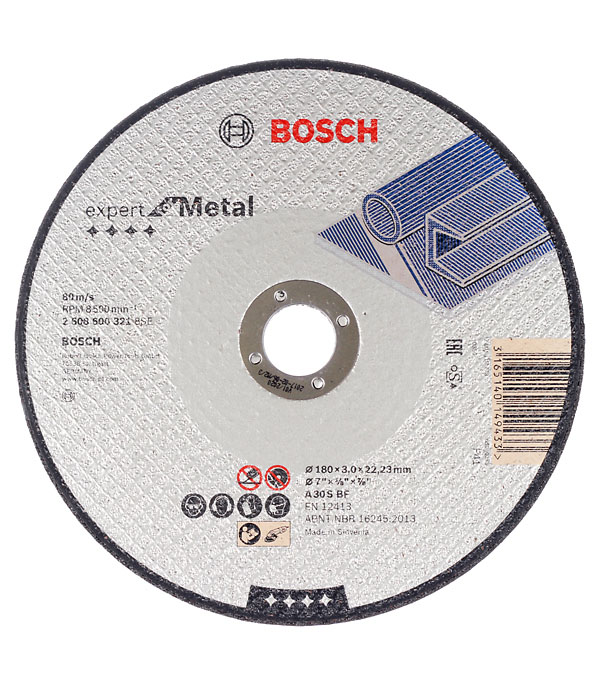 Круг отрезной по  металлу 180х22х3 мм Bosch Профи
