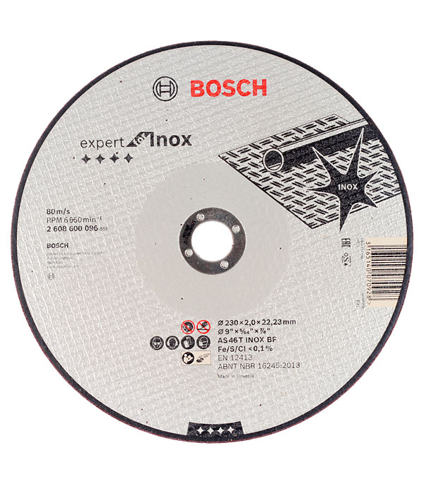 Круг отрезной по нержавеющей стали 230х22х2 мм Inox Bosch Профи