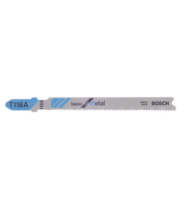 Пилки для лобзика по металлу для прямых пропилов Bosch T118A 1-3 мм (5 шт) пилки для лобзика по металлу для прямых пропилов t318bf 2 шт 2 5 6 мм стандарт