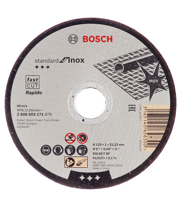 Круг отрезной по металлу и нержавеющей стали Bosch Стандарт 125х22х1 мм круг отрезной по металлу 125х22х1мм bosch профи