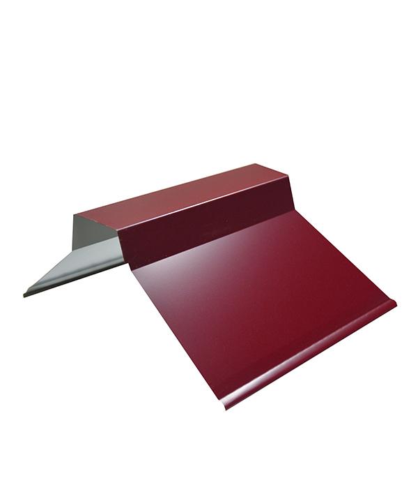 Конек для металлочерепицы плоский с пазом, 135х35х60х35х135 мм, 2 м красное вино RAL 3005