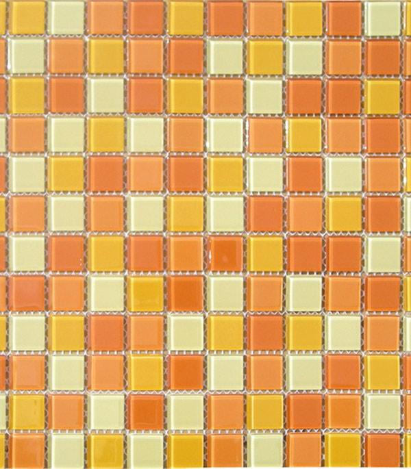 Мозаика стеклянная 327х327х4 мм желто-оранжевый микс на сетке (10 шт = 1,07 кв.м)