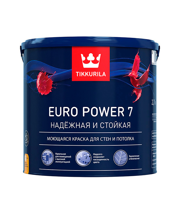 Краска в/д Tikkurila Euro Power 7 латексная основа A матовая 2.7л цена и фото