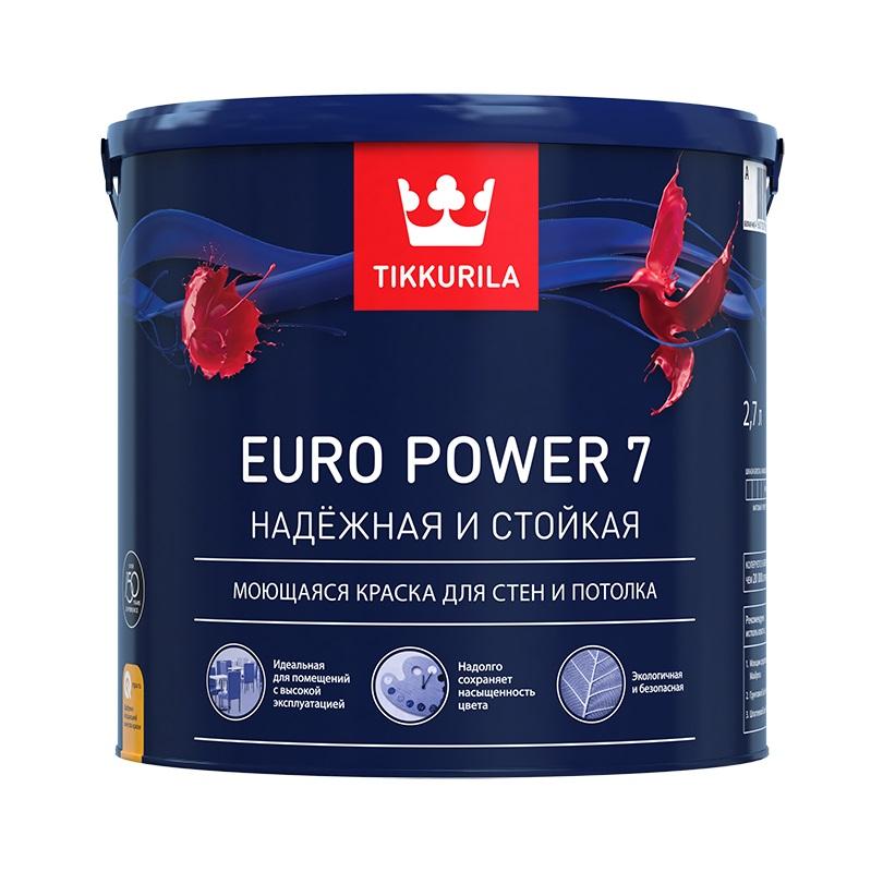 Краска в/д Euro 7 основа A матовая латексная Тиккурила 2,7л