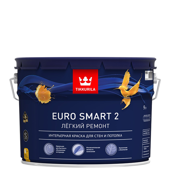 Краска в/д Tikkurila Euro Smart 2 основа VVA глубокоматовая 9 л цена и фото