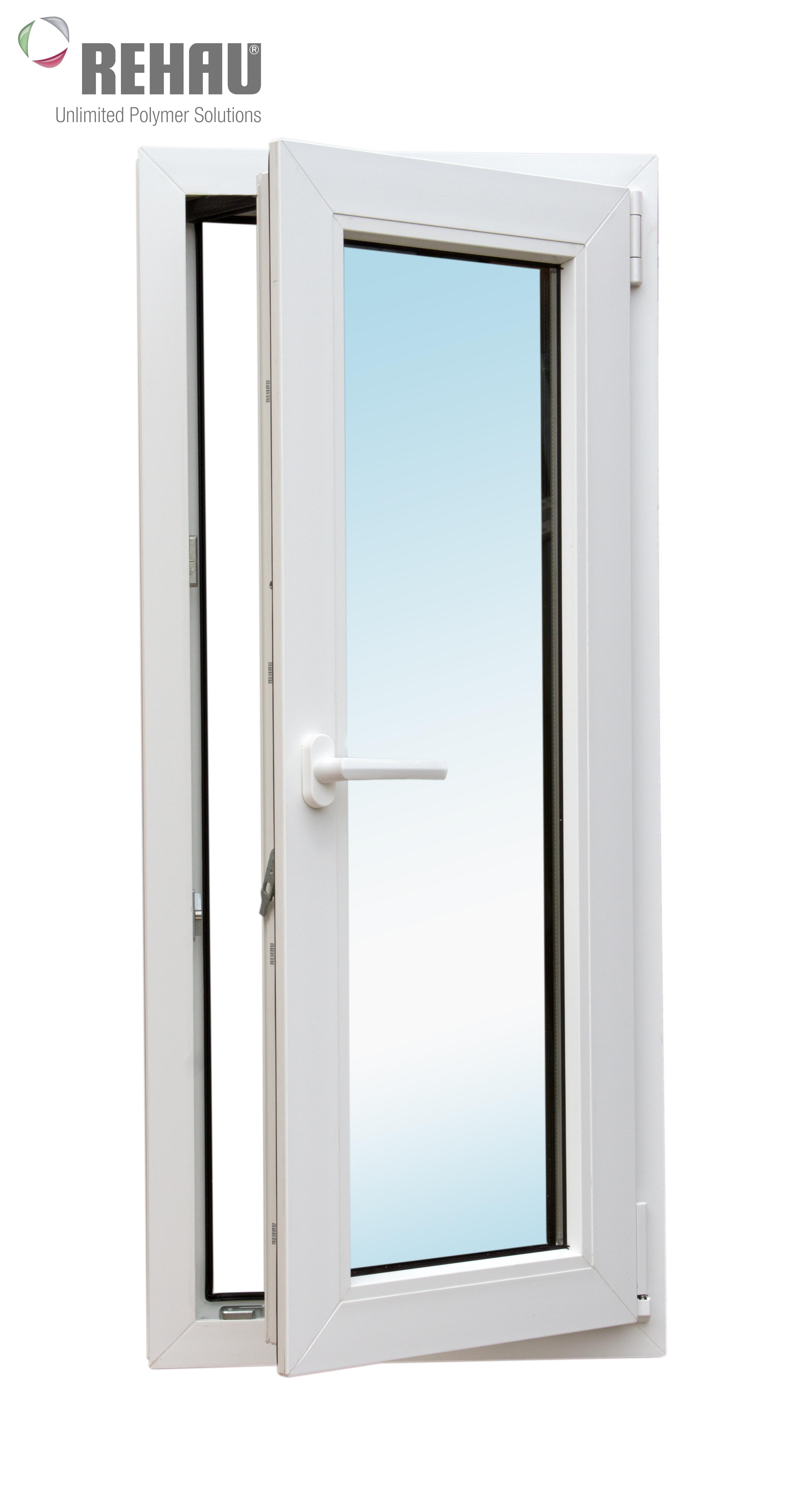 Окно металлопластиковое белое  Rehau Blitz 1160х500 мм, поворотно-откидное правое