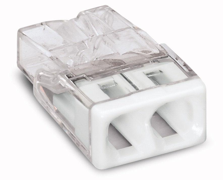 Зажим (клемма) на 2 провода (0,5-2,5 мм.кв) без пасты, (5 шт), Wago