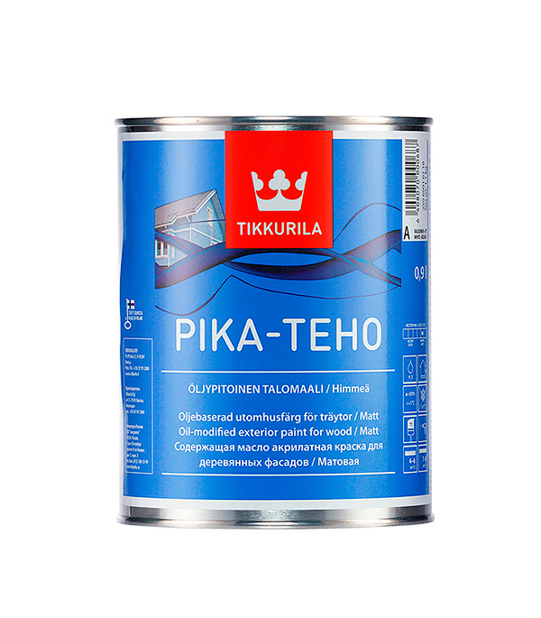 Краска в/д фасадная Tikkurila Pika-Teho основа А матовая 0.9 л краска фасадная силоксановая матовая база b2 белинка 1 86л