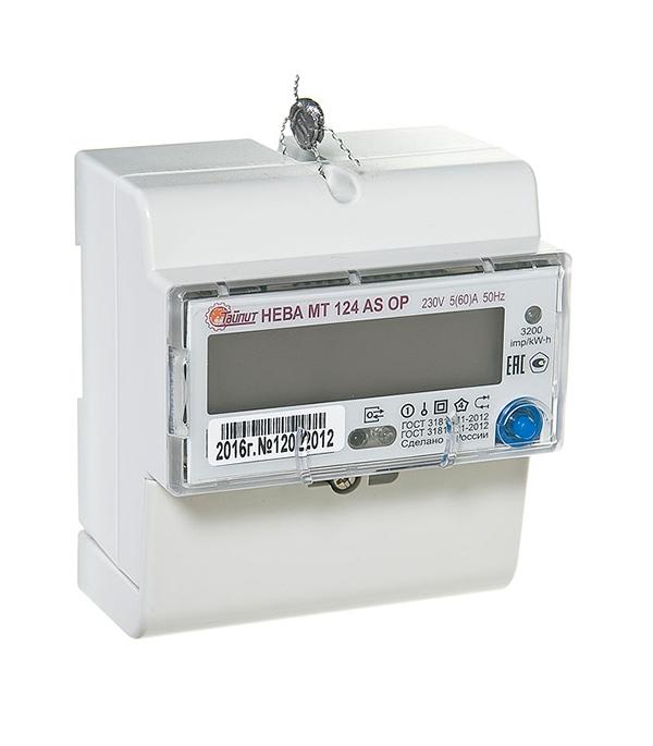 Счетчик 1-фазный электронный 2-тарифный Нева МТ 124 (5-60А) на дин-рейку