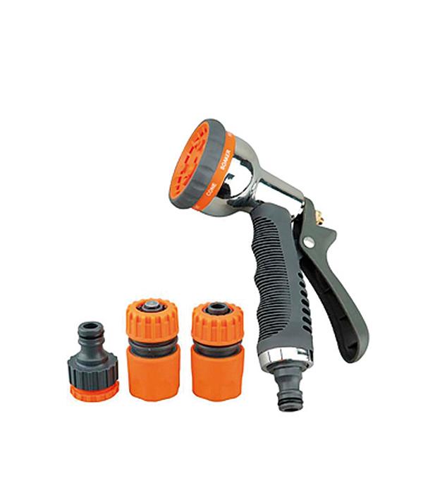 Пистолет-разбрызгиватель металлический 8 режимов с коннекторами коннектор c системой аквастоп для шланга 1 2 claber 8000625086023
