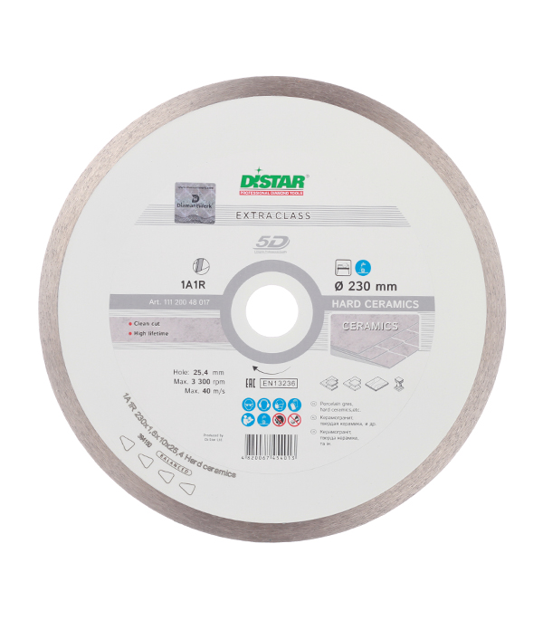Диск алмазный сплошной по керамике 230x25.4 DI-STAR диск алмазный distar 1a1r 180x25мм hard ceramics