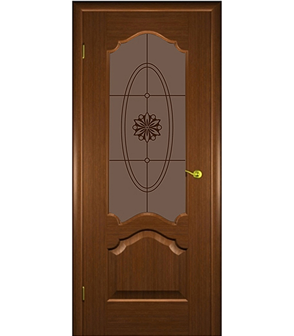 Дверное полотно  ДПО Верона  шпонированное орех  800 x 2000 мм без притвора со стеклом