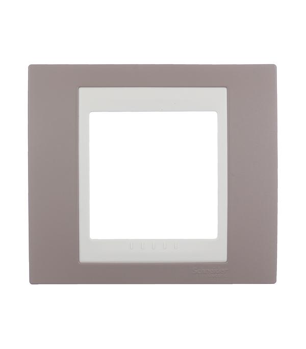 Рамка одноместная Schneider Electric Unica Хамелеон коричневый/бежевый  монтажная коробка для наружной проводки schneider electric unica 36мм 1 пост бежевый mgu8 002 25