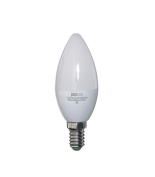 Лампа светодиодная E14, 7W, C37 (свеча), 5000K (холодный свет), Jazzway