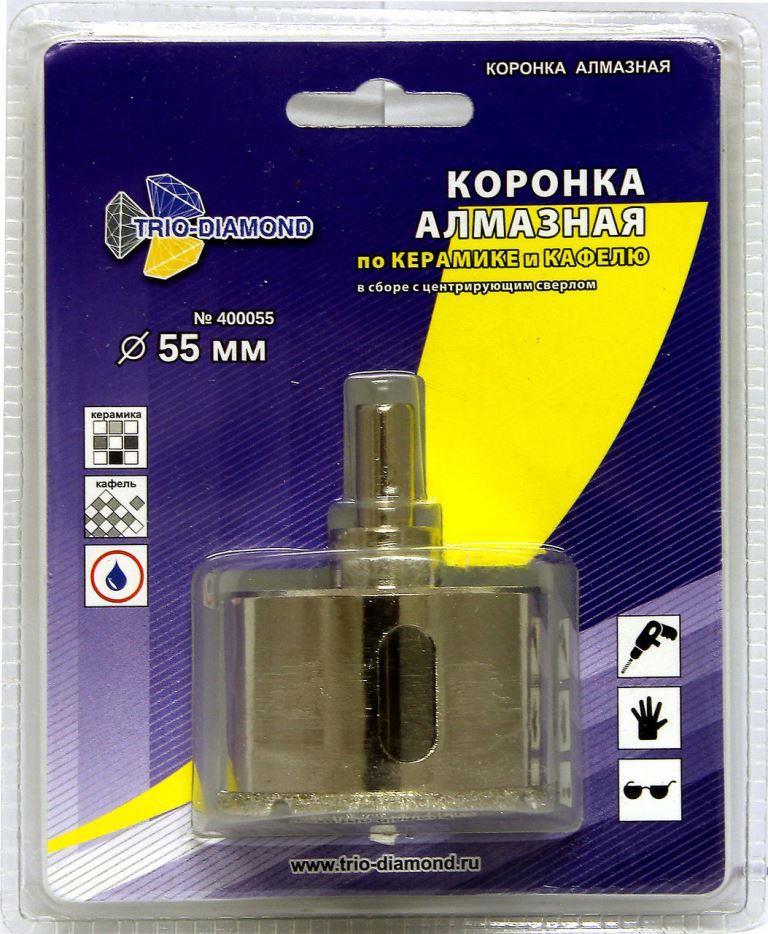 Коронка по керамограниту алмазная 55 мм TRIO-DIAMOND  коронка по керамограниту 8х33 мм bosch профи