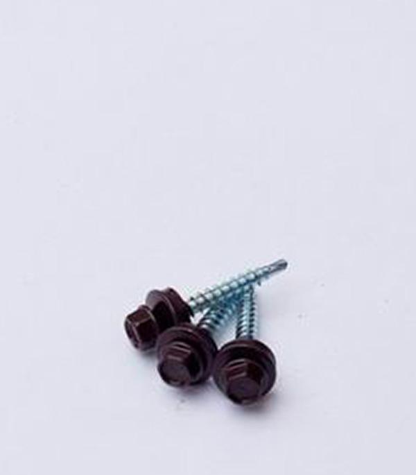 Саморезы кровельные с буром 50х4,8 мм коричневые  RAL 8017 (200 шт)