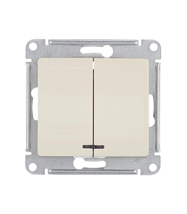 Механизм выключателя двухклавишного Schneider Electric Glossa с/у с подсветкой бежевый механизм выключателя schneider electric glossa белый 1 клавишный gsl000111