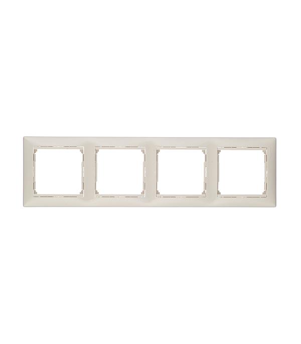 Рамка четырехместная Legrand Valena слоновая кость  рамка legrand valena четырехместная белая 774454