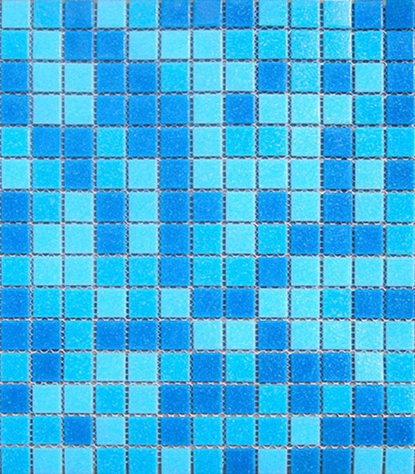 Мозаика стекломасса 327х327х4 мм голубой микс на бумаге (10 шт = 1,07 кв.м)