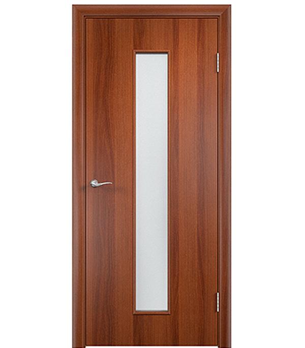 Дверное полотно ламинированное Верда С-17 Итальянский орех 800х2000 мм, остекленное Сатинато