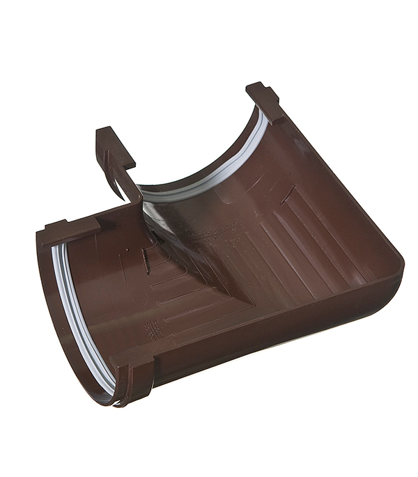 Угол желоба пластиковый  90° универсальный коричневый (кофе), уплотнитель VINYL-ON