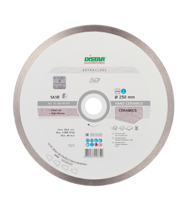 Диск алмазный сплошной по керамике 250x25.4 DI-STAR диск алмазный distar 1a1r 180x25мм hard ceramics