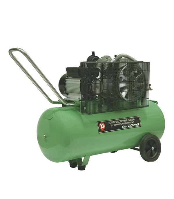 Компрессор масляный с ременным приводом Калибр КМ-2300/100Р, 2300 Вт, 336 л/мин, 0,7 Мпа
