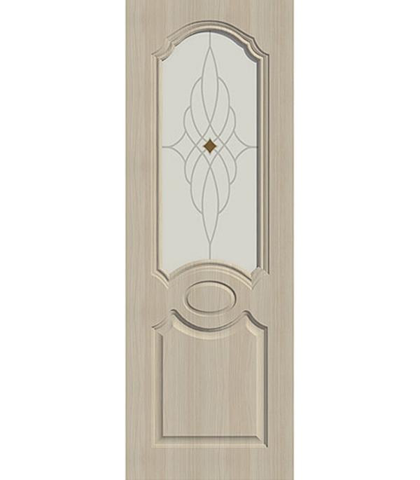 Дверное полотно ДПО экошпон Aфина Беленый дуб мелинга 8М 700х2000 мм без притвора со стеклом