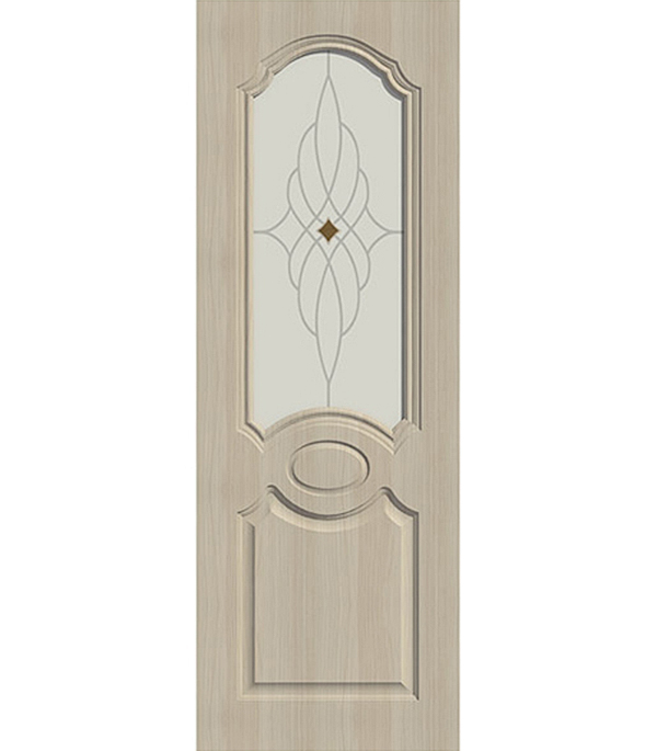Дверное полотно ДПО экошпон Aфина Беленый дуб мелинга 9М 800х2000 мм без притвора со стеклом