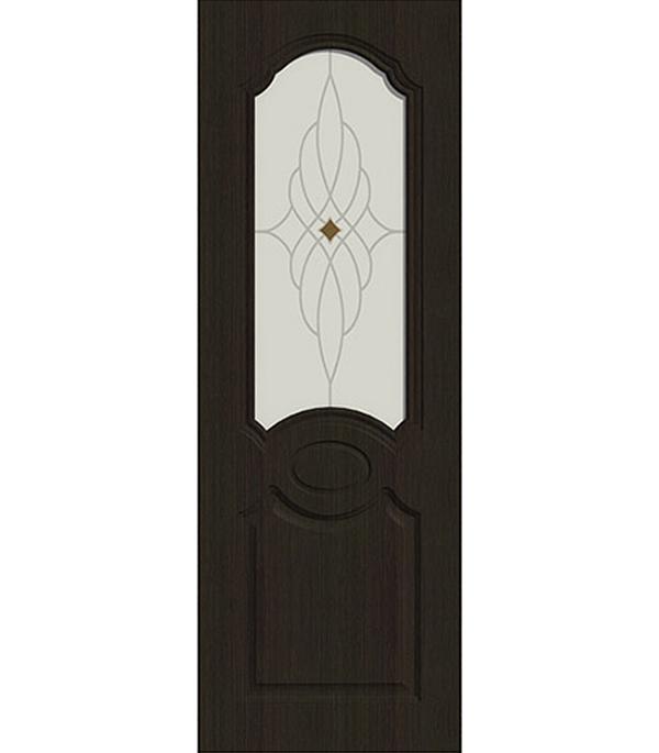 Дверное полотно ДПО экошпон Афина  Венге мелинга 9М 800х2000 мм без притвора со стеклом