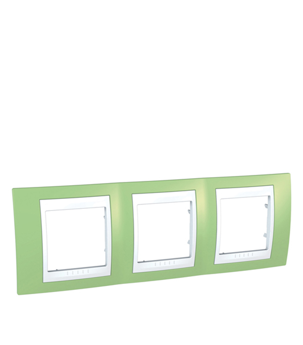Рамка трехместная горизонтальная Schneider Electric Unica Хамелеон зеленое яблоко/белый