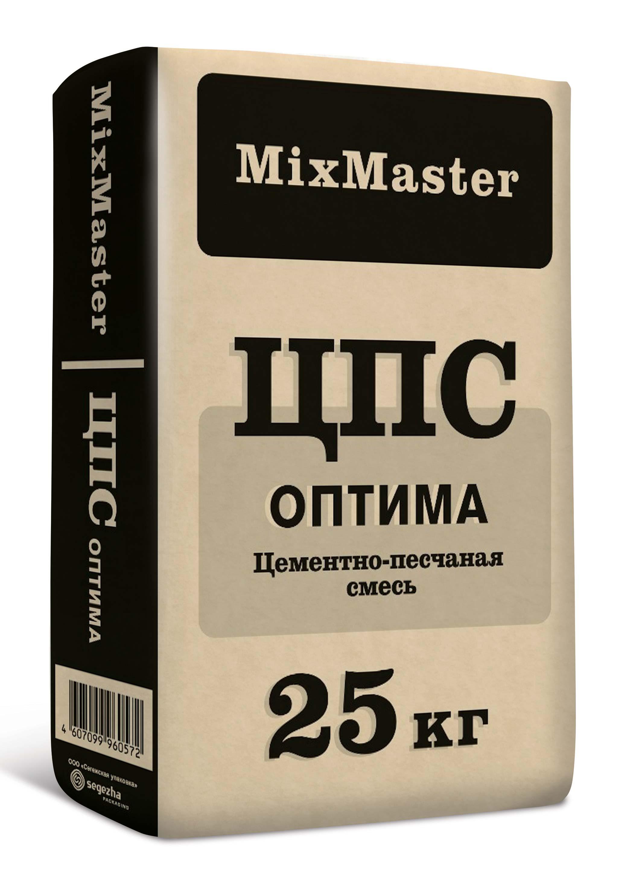 ЦПС Оптима (цементно-песчаная смесь) МиксМастер,  25 кг