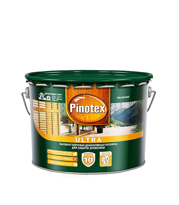 Декоративно-защитная пропитка для древесины Pinotex Ultra тик 9 л