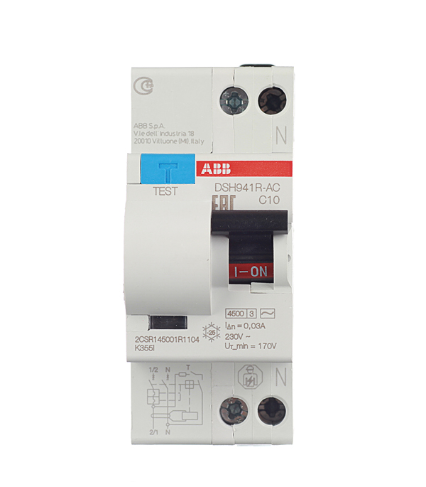 Дифференциальный автомат 1P+N 10А тип C 30 мА 4.5 kA ABB DSH941R дифференциальный автомат 1p n 25а тип c 30 ма 4 5 ka abb dsh941r