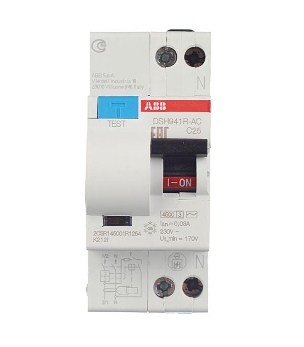 Автомат дифференциальный 1P+N, 25А, тип C, 30мА, 4.5kA, ABB, DSH941R