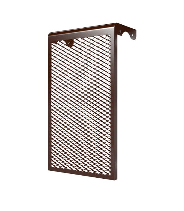 Декоративный металлический экран на радиатор 3-х секционный, коричневый
