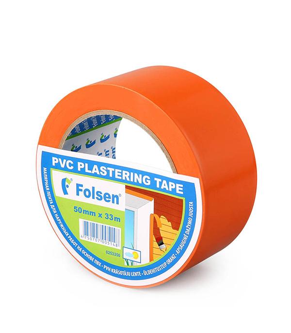 Лента малярная Folsen ПВХ оранжевая для наружных работ 50 мм х 33 м лента клейкая двусторонняя folsen ткань 50мм х 5м