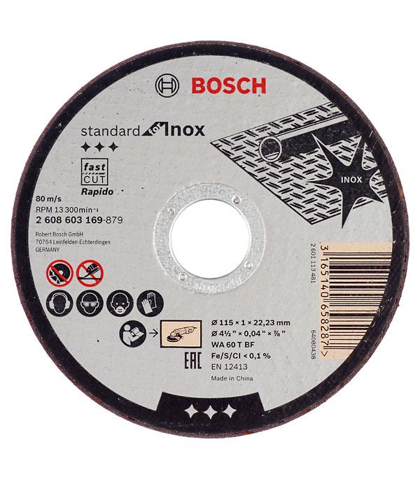 Круг отрезной по металлу и нержавеющей стали Bosch Стандарт 115х22х1 мм круг отрезной hammer flex 115 x 1 2 x 22 по металлу и нержавеющей стали 25шт